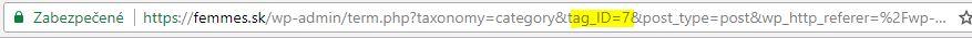 ID kategórie wordpress